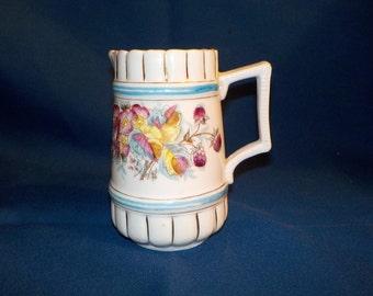 Antique Porcelain Milk Pitcher, Creamer, Floral, FREE U.S. Shipping