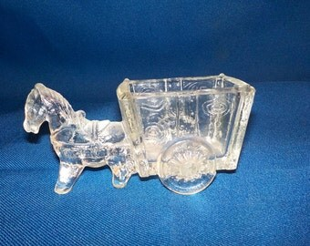 Clear Glass Donkey & Cart, Candy Container, 1960's