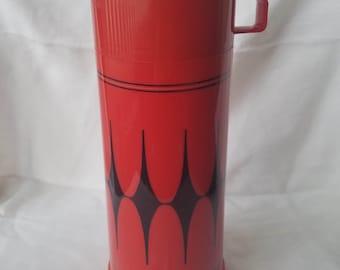 Vintage Aladdin Black and Red Diamond Thermos