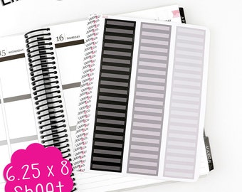 LS115 Skinny Black and Gray Rectangular Boxes!  Set of 60 Perfect for the Erin Condren Planner!!!