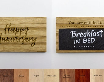 3x5 Wooden Couples Coupon with REAL SLATE - Valentine's Day Coupon, Anniversary Coupon, Love Coupon, Romantic Coupon, Valentine's Gift