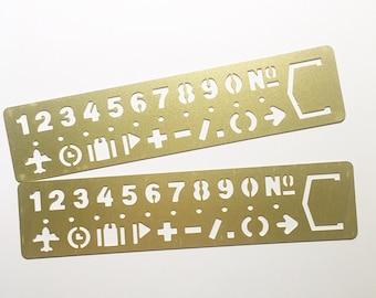 Brass Number Stencil Template Ruler