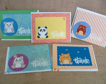 Animal Thank You Cards Set of 5