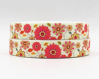7/8 inch Pretty Pastels Flowers and leaves on beige/ light yellow Design - Printed Grosgrain Ribbon for Hair Bow