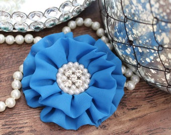 """4"""" BLUE Chiffon Fabric Flowers with Crystal Pearl Center - Fluffy - Beautiful -Hair Accessories - Wedding - TheFabFind"""