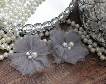"SET OF TWO - 3"" Gray / Grey Tulle Flowers with Center Accent - Elegant - Beautiful - Hair Accessories - Wedding - TheFabFind"