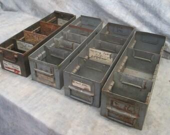 4 Vintage Metal Storage Drawers Organizer Storage Bins Arts Crafts Cubbyholes f