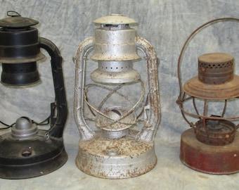 3 Lanterns Dietz Handlan Air Pilot Camping Cabin Decor Parts Repair Vintage b