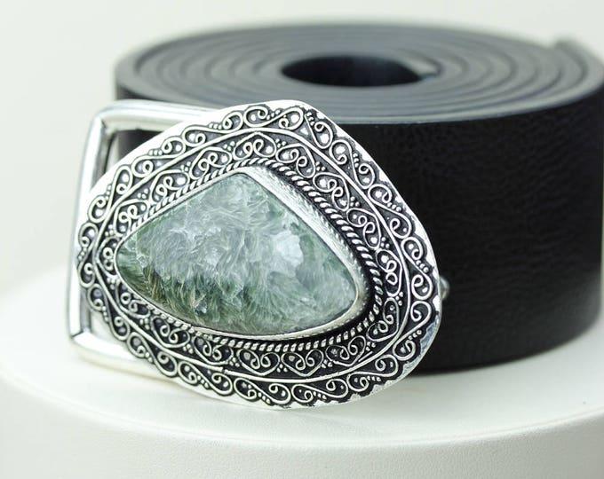 Heart Shaped! Genuine RUSSIAN SERAPHINITE Stone Vintage Filigree Antique 925 Fine S0LID Sterling Silver + Copper BELT Buckle T57