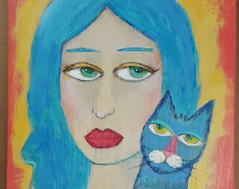 Small Original Painting Kitty Cat Blues on Rustic Wood - Free Shipping US