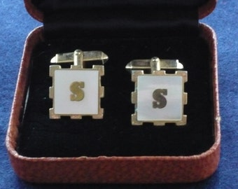 1960s Cuff Links - Initialled with the Letter S - Faux Mother of Pearl