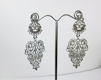 Large Silver Chandelier Earrings Silver Filigree Metal Lace Earrings Wedding Bridal Earrings Pieced Drop Dangle Earrings Art Nouveau Jewelry