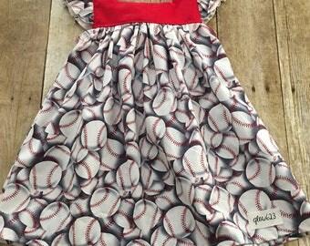 Baseball Dress- Tie Back Dress- Baseball Bow Dress