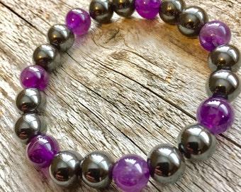 Magnetic Hematite and Amethyst Pain Relief Bracelet
