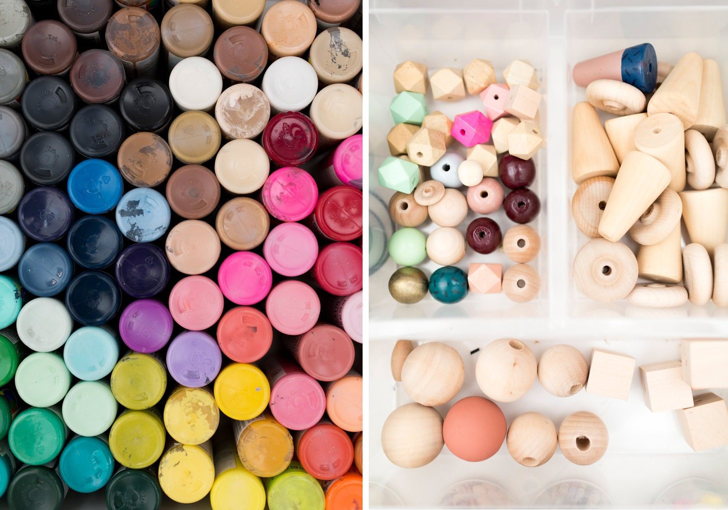 Craft paints and wooden beads