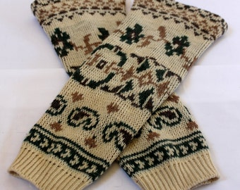 Handmade upcycled one of a kind wool legwarmers with cool print