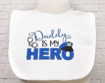 Police Baby Girl - Police Baby Shower - Police Officer Baby - Police Baby - Daddy Is My Hero - Cop Baby - Blue Line - Baby Bib Set -Baby Bib