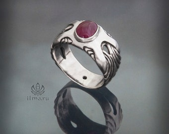 "Sterling silver ring ""Dragon legacy"" with rubies - handcrafted unique design, limited edition - made to order - ppssible with any stone."