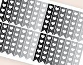 28 neutral flag stickers heart, black horizontal planner stickers, reminder checklist, eclp filofax happy planner kikkik plum paper mambi