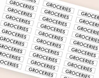 30 black groceries stickers, meal plan header stickers, transparent clear stickers, planner stickers, food eclp filofax happy planner kikkik