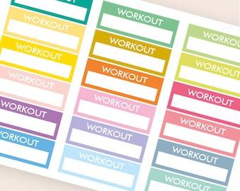 18 blank stickers, workout bar sticker, box stickers, blank label, planner stickers, scrapbook reminder happy planner sticker