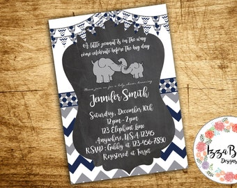 Elephant Baby Shower & Thank you Invitation