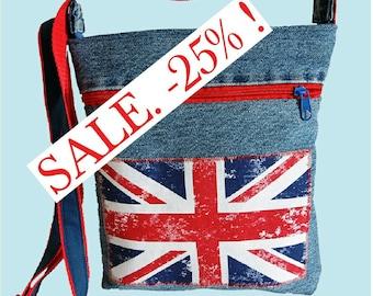 "SALE % denim bag ""very british"""