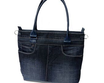 Handbag from jeans, dark blue, unique