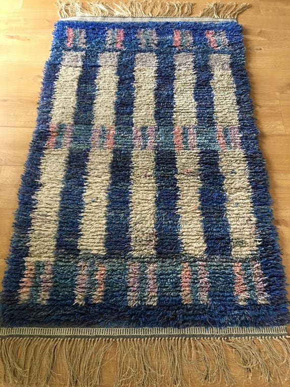 Vintage Swedish ryamatta rug pure wool mid century circa 1970's