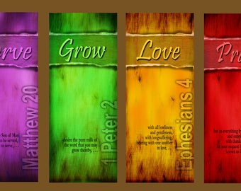 Serve / Grow / Love / Pray  / Set of 4 Banners (G617)