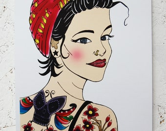 Tattoo Girl A3 Print