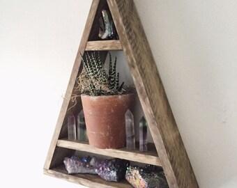 Tall triangle crystal shelf