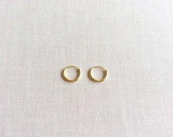 10mm Solid 14k Gold Hoop Earrings - 14k Hoop Earrings - 14k Gold Earrings - Gold Hoop Earrings - Small Gold Hoops Earrings - Tiny Gold Hoops