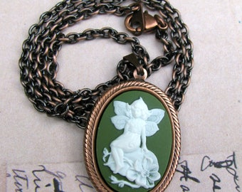 Woodland Fairy Cameo Chain Necklace / Gift for Her / Cameo Jewelry / Antiqued Copper Necklace