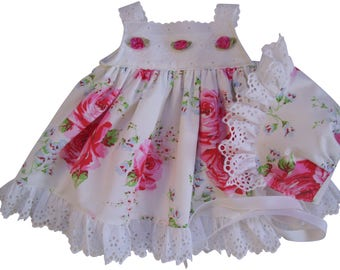 English Rose and Eyelet Baby Sun Dress and Bonnet