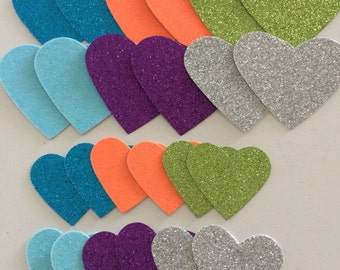 24 glitter heart die cuts, 2 each of 2 sizes in 6 colours