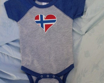 Norwegian Onesie With Personalized Text Optional - New Norwegian Baby Gift