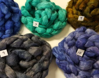 Wool roving hand dyed combed top for spinning or felting 3.6 to 4 oz