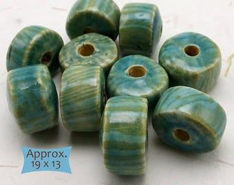 Big Handcrafted Cambodian Ceramic Wheel Beads—3 Pcs | WH-TQ-3
