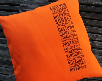 Canvas East Van Bus Scroll Pillow