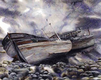 "Art Print ""High and dry""- A4 size, landscape, seascape, boats, stormy sky, wall art, Scotland, greys, blues, from a painting by Dave Marsh"