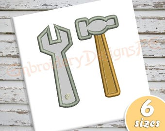 Hammer and Wrench Applique Design - Tools Applique Design - 6 sizes - Machine Embroidery Design File