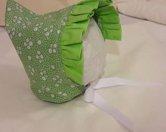 Pixie Bonnet Green and White Floral with Green Ruffle plus White Ribbon