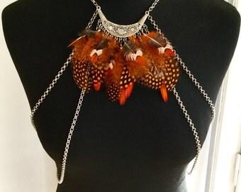 Bodychain with feathers oranges / chain of body / bodynecklace / necklace body / feathers / silver / body necklace / bodychain / boho / tribal