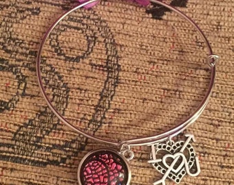Love heart charm silver snap button adjustable bracelet