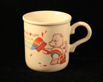 Vintage Care Bears Mug Cheer Bear Heavy Ceramic American Greetings