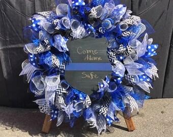 XL Premium Police Wreath, Officer Wreath, Law Enforcement Wreath, Police Support Wreath, Thin Blue Line Wreath, Police Wife, Sheriff Wife