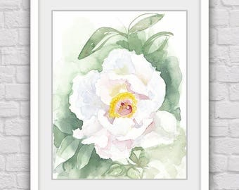 White flower print, Flower art, Digital print, Flower artwork, Watercolor print, Watercolor art, Downloadable art, Flower wall decor