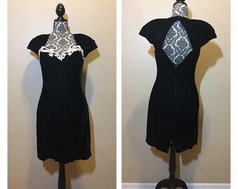 Vintage Green Velvet Dress | 80s Prom Dress