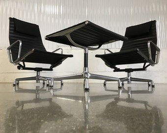 PAIR UPGRADED Vintage Herman Miller Eames Aluminum Group Lounge Chairs + Ottoman w/ Leather Tilt Swivel Headrest Mid Century Modern MCM